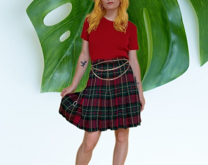 Vintage 80s St. John Collection Plaid Knit Pleated Skirt