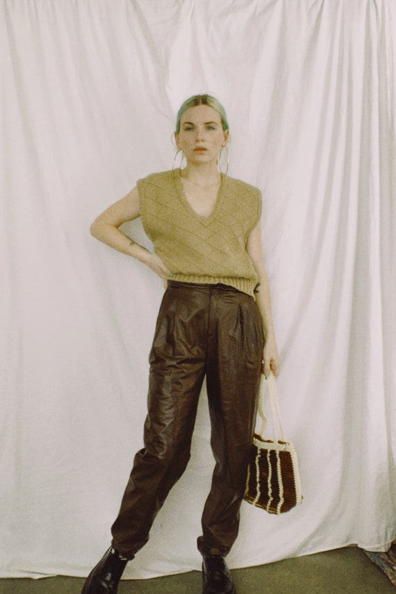 Vintage 80s | Chocolate Leather Trousers