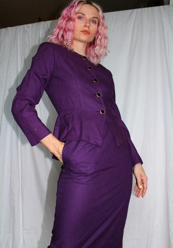 Vintage 80s | Violet Houndstooth Skirt Suit