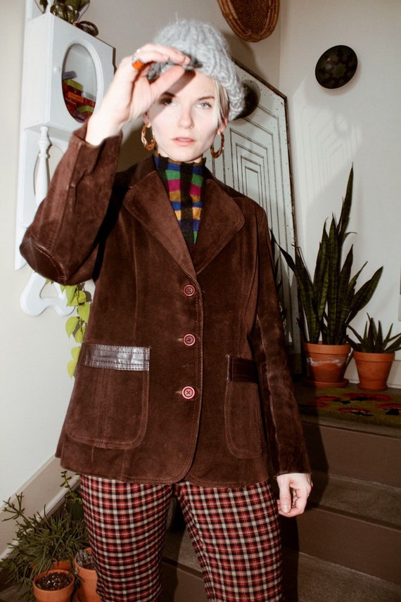 70s Brown Suede/Leather Blazer