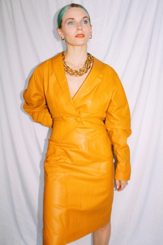 Vintage 80s | Mustard Leather Skirt Suit