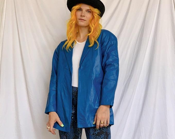 80s Bright Blue Leather Blazer