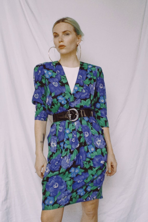 Vintage 80s | Belted Floral Dress