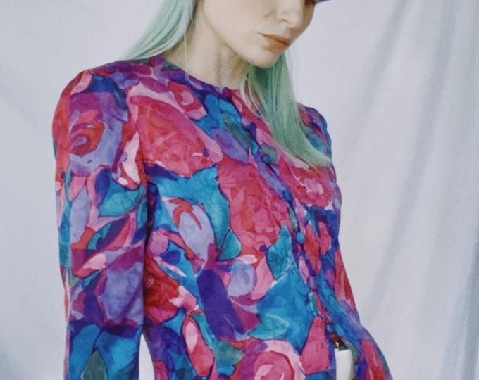 Vintage 80s | Silk Floral Top