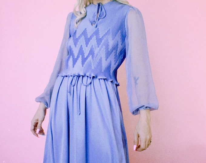 Vintage 60s   Periwinkle Poly Dress w/ Micro Pleats and Sheer Sleeves