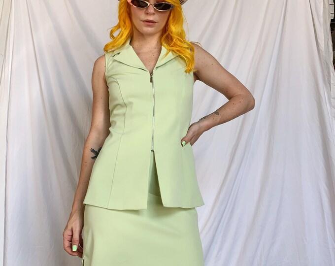 Vintage 90s Green Vest/Skirt Set