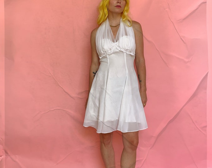 90s Céline Made in New York White Fit & Flare Dress