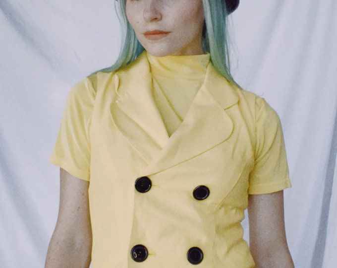 Vintage 80s | Yellow/Black Fitted Vest