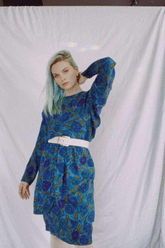 Vintage 80s | Blue Silk Dress
