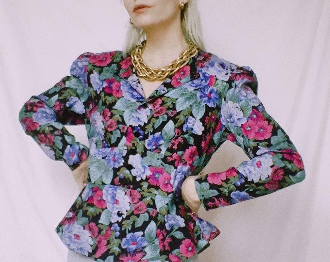 Vintage 80s | Floral Rayon Peplum Jacket/Top