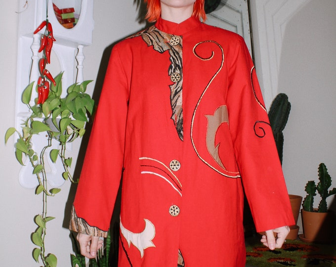Abstract Red Cotton Coat