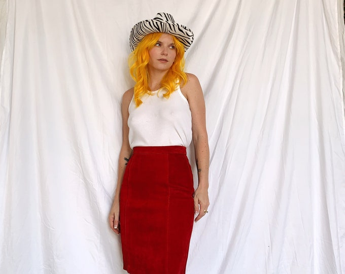 80s Red Suede Skirt