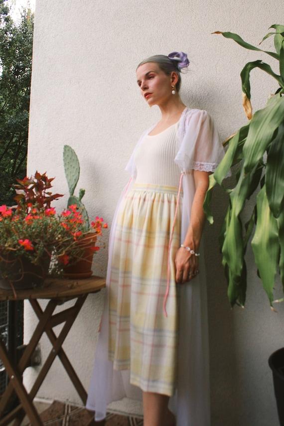 Vintage 80s | Pastel Wool Plaid Skirt