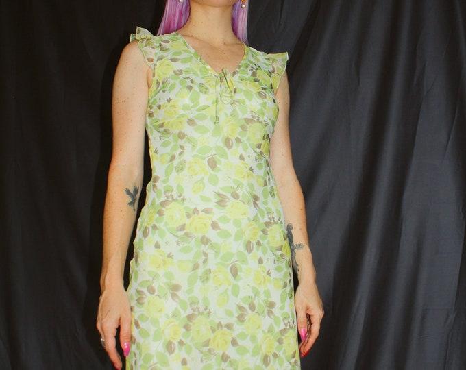 Vintage 90s | Yellow Rose Dress