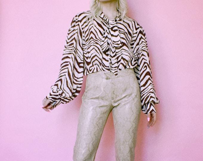 Vintage y2k XOXO Snake Print PVC Pants