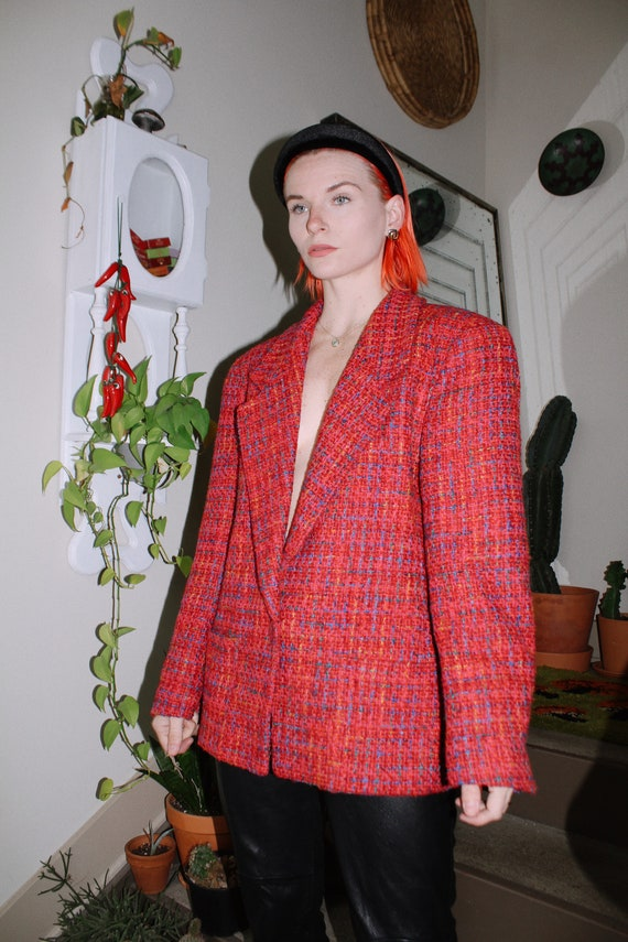 Colorful Tweed Blazer - image 1