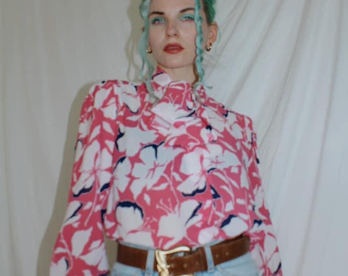 Vintage 1980s | Pink Floral Blouse