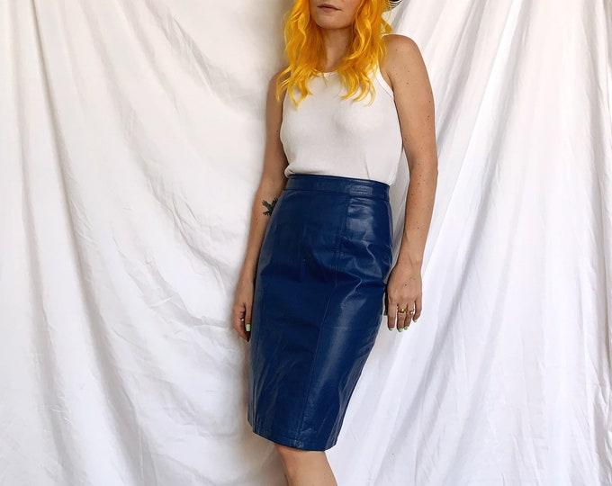 80s Cobalt Blue Leather Pencil Skirt