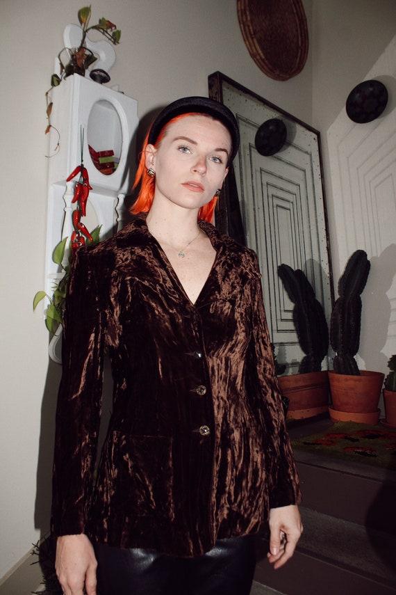 70s Brown Crushed Velvet Fitted Blazer