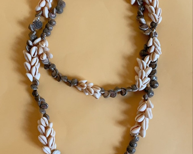 Vintage Beaded Shell Long Necklace