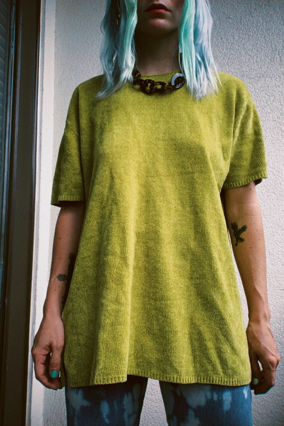 Vintage 90s   Chartreuse Chenille Sweater - image 3