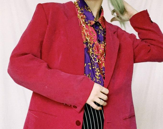 Vintage 90s | Magenta Silk Blazer