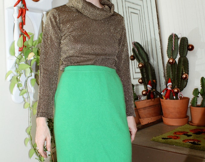 Green Wool/Angora Mini Skirt