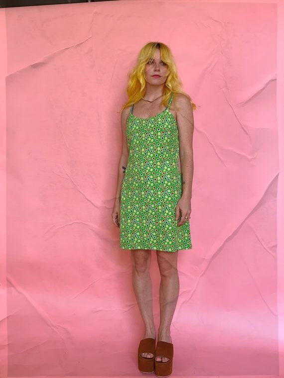 90s Green Floral Mini Slip Dress - image 1