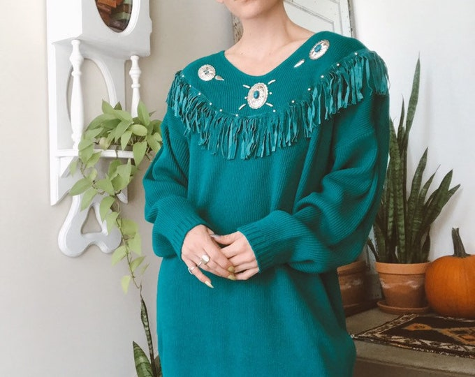 Western Turquoise Sweater