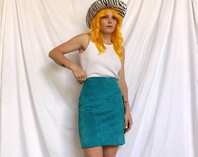 Blue 90s Suede Mini Skirt