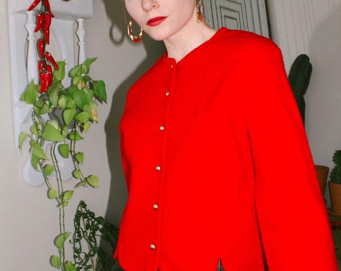 Red Wool Cardigan