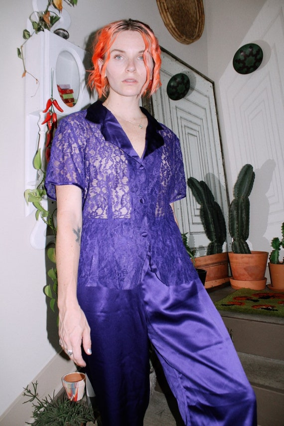 Purple Satin Pajama Set