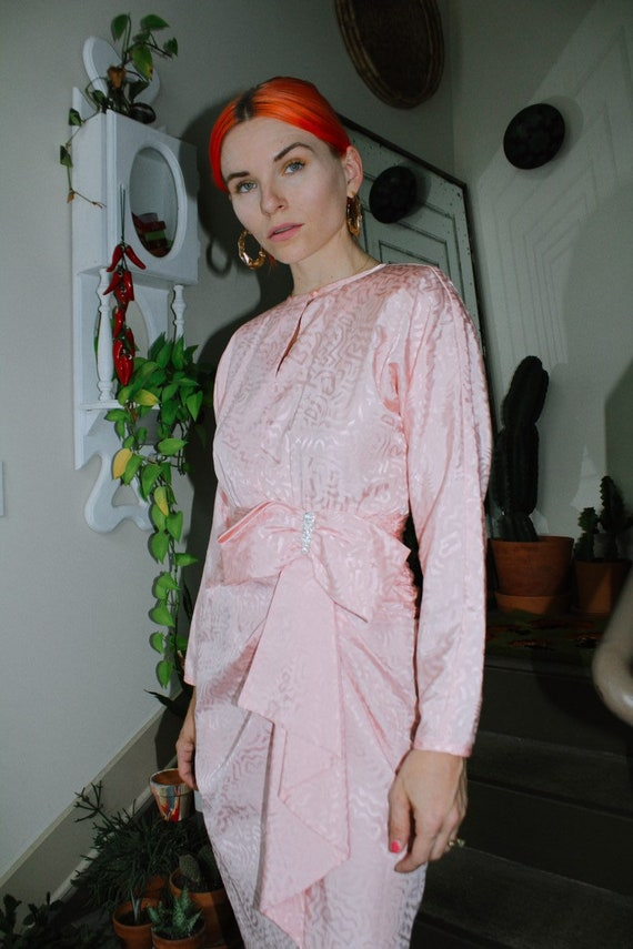 80s Pink Bow Dress