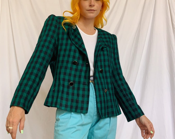 80s Teal/Navy Check Double Breasted Blazer