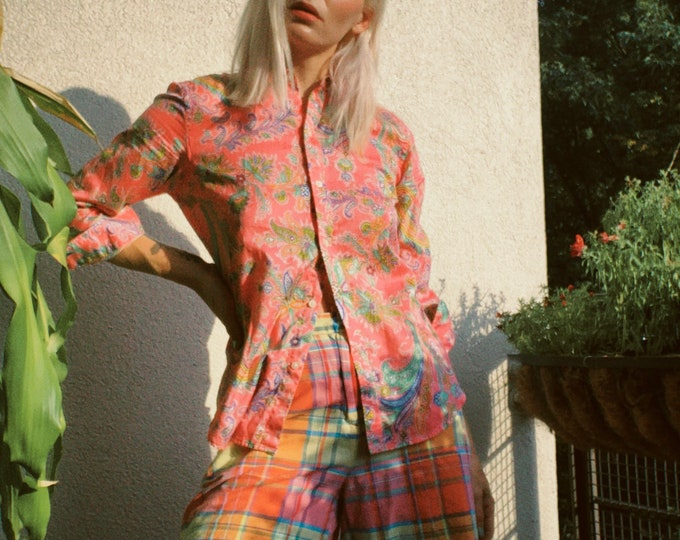 Vintage 90s   Plaid Cotton Shorts