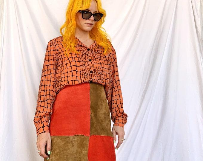 Burnt Orange/Tan Suede Checkered Skirt