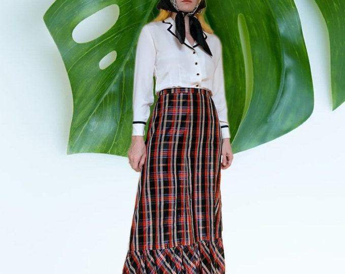 Vintage 70s Plaid Maxi Skirt