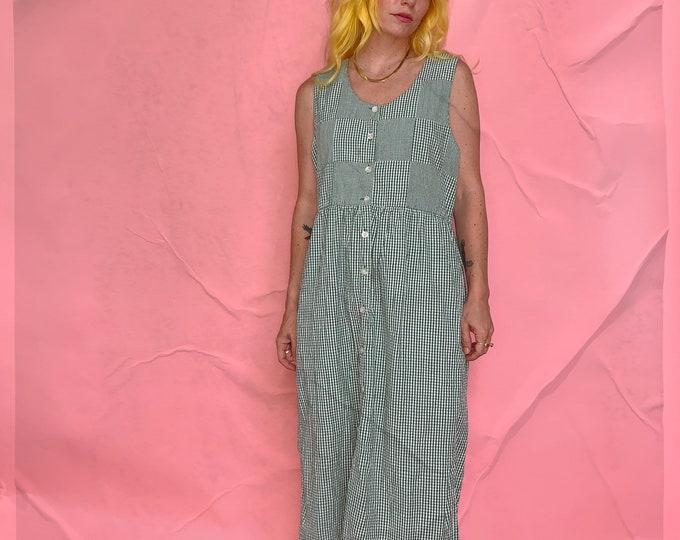 Green Gingham Susan Bristol Midi Dress