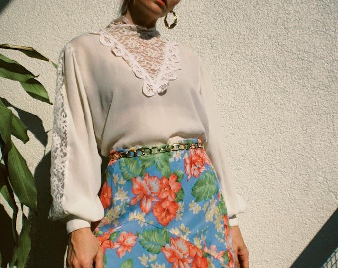 VTG Floral Silk Skirt