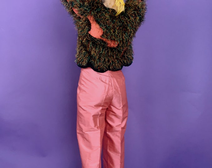 Vintage 90s | Handmade Pink Silk Cropped Trousers
