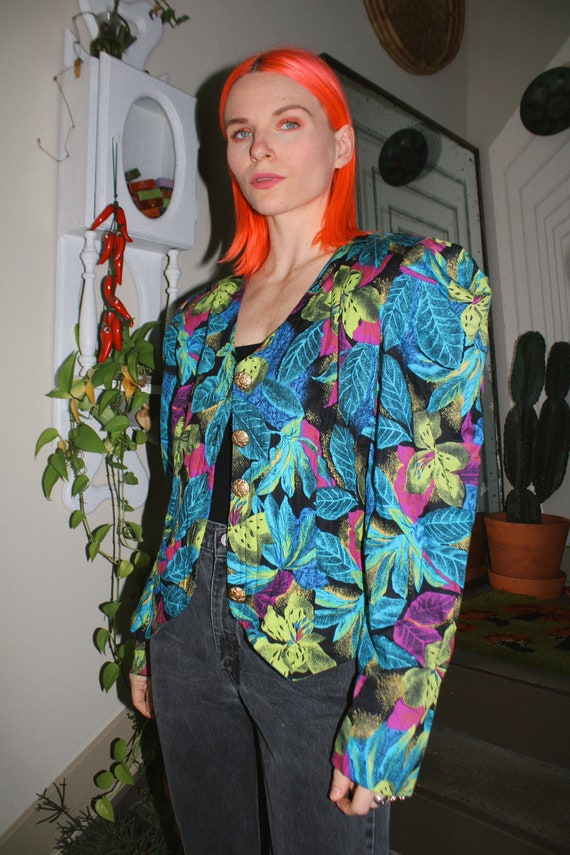 80s Floral Quilted Puff Shoulder Cropped Jacket