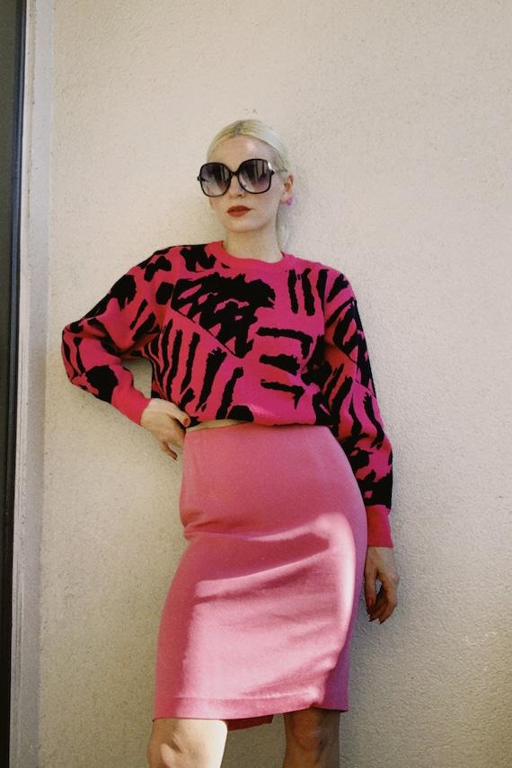 Vintage 90s | Bubblegum Pink Silk Pencil Skirt - image 1