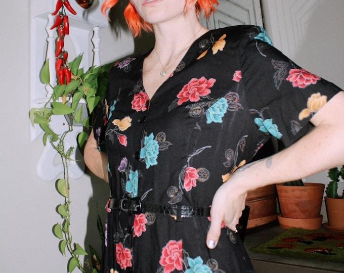 Belted Black Floral Dress