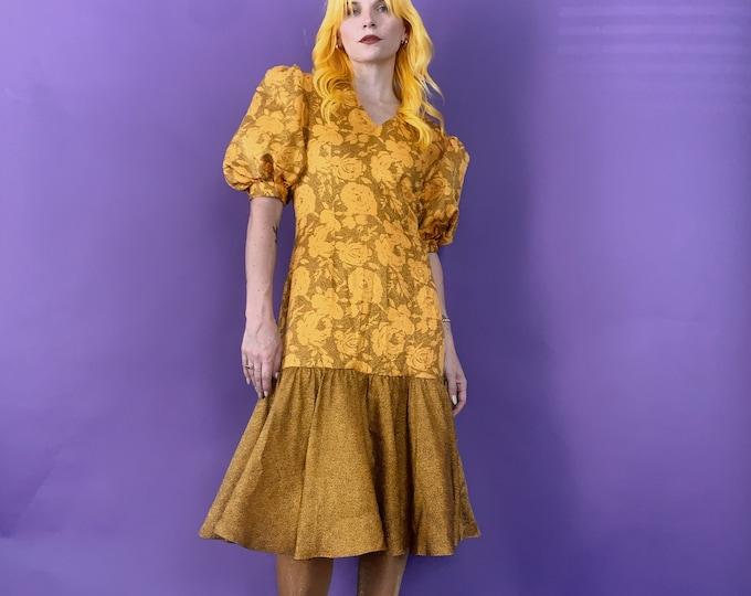 Vintage 80s | Marigold and Black Floral Dress