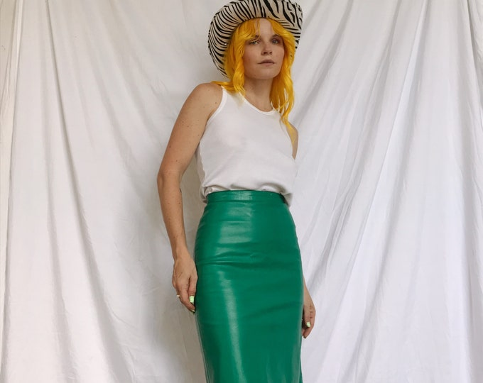 80s Turquoise Leather Pencil Skirt