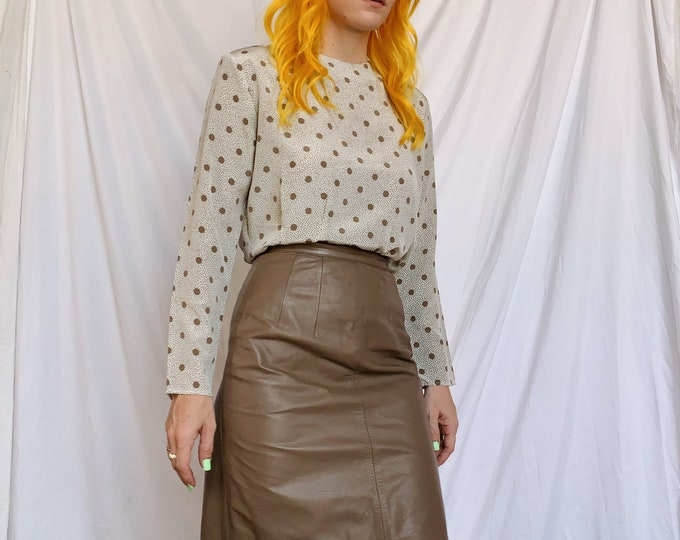 Taupe Leather Pencil Skirt
