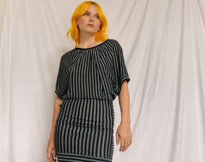Y2K Metallic Striped Knit Dress