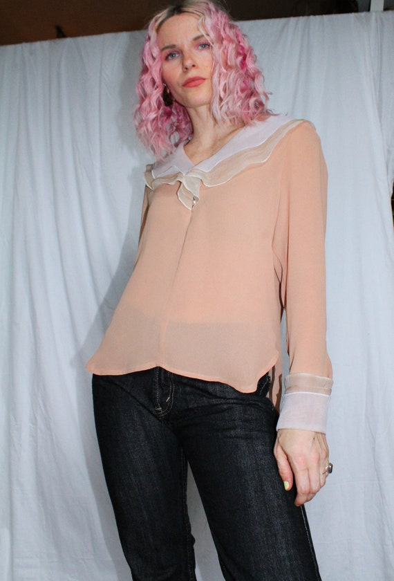 Vintage 70s | Tan Blouse with Organza Collar