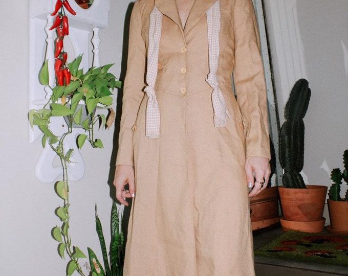 70s Tan Coat with Gingham Tie