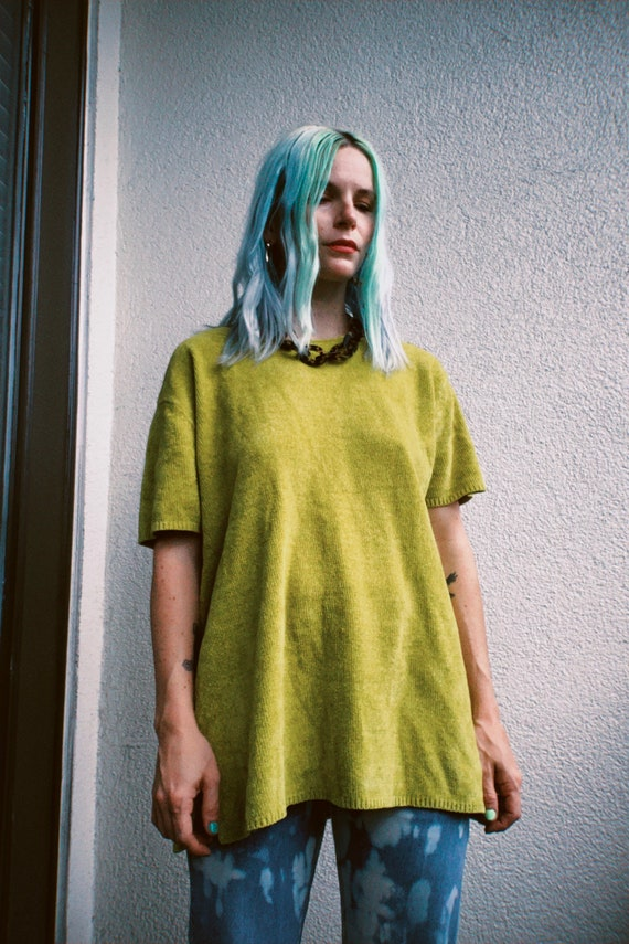 Vintage 90s   Chartreuse Chenille Sweater - image 2